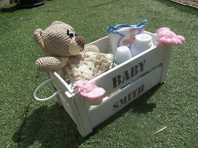 Baby Personalised Gift  Handmade crate set