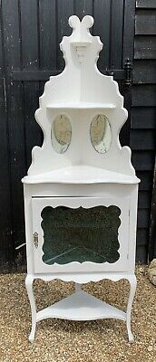 Elegant White Painted Freestanding Corner Display Cabinet Shabby Chic Project