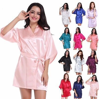 Bride Bridesmaid Robe Kimono Wedding Silk Satin Dressing Gown Sleepwear Bathrobe