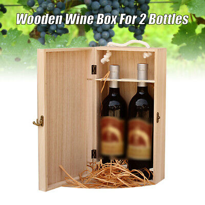 Vintage Wood 2 Red Wine Bottle Box Carrier Crate Case Storage Carrying Display
