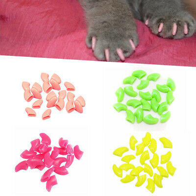 20Pcs Chic Anti-scratch Soft Rubber Pet Dog Cat Kitten Paw Claw Nail Caps Cover
