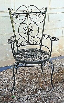 FRENCH garden ARM CHAIR WROUGHT IRON black BEAUTIFUL QUALITY NEW  14 kg