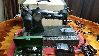 VINTAGE SINGER SEWING MACHINE M-15 Electric Foot Pedal Carrying Case WORKS GREAT
