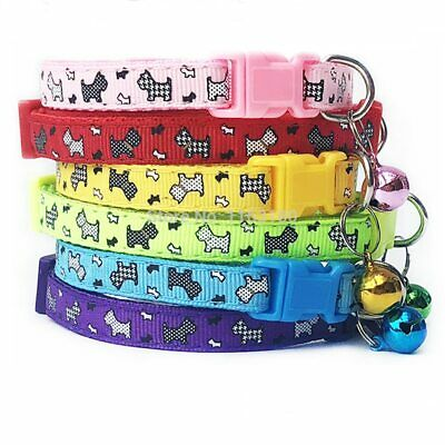 Adjustable Dog Puppy Collar Cute Pet With Bell Multiple Colours Necklace Uk