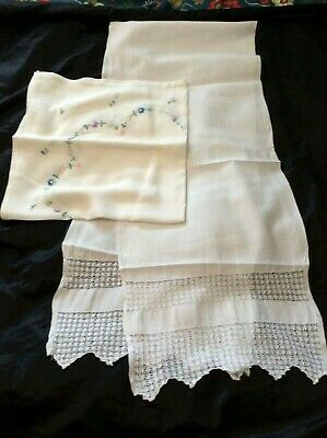 vintage fine linen/lace table runner & embroidered tea table cloth