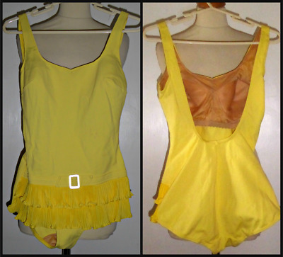 Vintage 60S Skirted Faux Belt Swimming Costume Cossie Uk 14 Mod Gogo