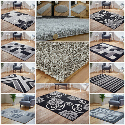 Modern Small Large Runner Shaggy Carved Floral Silver Grey Clearance Budget Rug