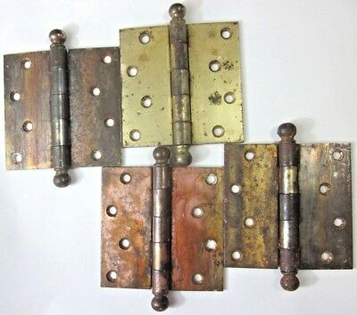 """1 Antique National 4"""" Square Hinge Ball Tips Finials Mortise Door Brass Plated"""