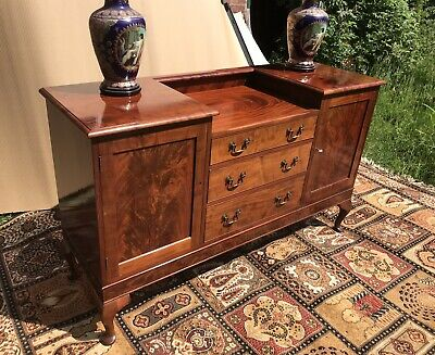 Edwardian Queen Anne Period Style Sideboard In Golden Mahogany