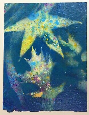 """Photogram made with spray paint using leaves 5.5 x 7.25"""" mixed media"""