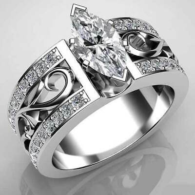 Marquise Cut 925 Silver Wedding Rings Cubic Zirconia Engagement Ring Size 6-10