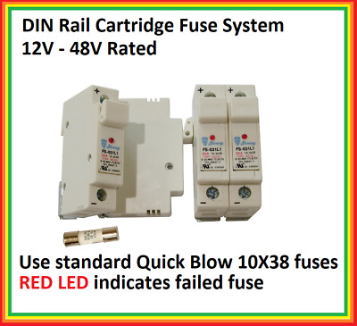 AC DC 32 Amp Max Cartridge Fuse Holder DIN Rail 10 mm x 38 mm 12V - 48V Systems