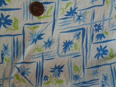 Lot of TWO Vintage Feed Sack Fabric Squares Flower Blue Green Cream  46 x 36