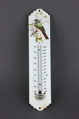 Emailliertes Thermometer Thermometerskala mit Vogel, um 1900