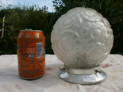 Original Art Deco Glass Globe Lamp French 1930's, Light Clear Vintage Opaque.1
