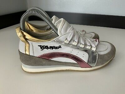 Dsquared2 Girls White Leather Trainers Sneakers Size 35 Uk 2 Vgc