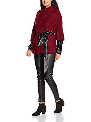 Silvian Heach giacca giaccone cappotto donna rosso bordeaux nero similpelle M