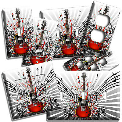 Red Electric Guitar Notes Light Switch Outlet Wall Plate Music Studio Room Decor