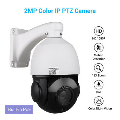 2MP HD 1080P POE IP PTZ Camera Security Network Color IR Night Vision Dome H.265