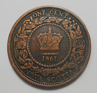 1861 LARGE BUD Nova Scotia Large Cent F NICE Queen Victoria 1st Year N.S. Penny