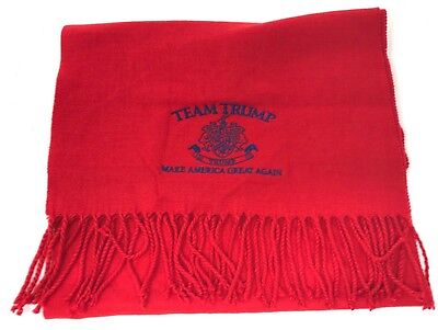 Trump Red w/ Blue Embroidered Soft Scarf 2016 Presidential Election NEW  72 x 12