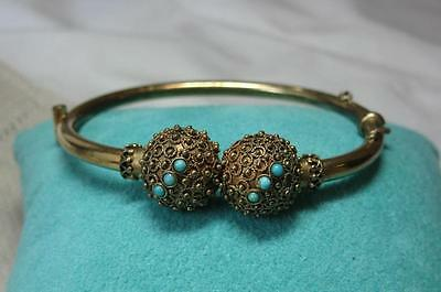 Victorian Persian Turquoise Etruscan Bracelet Antique Belle Epoque c1880 Wedding