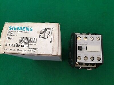 Siemens 3TH42 80-0BF4  Contactor 110 VDC Coil 4Kw