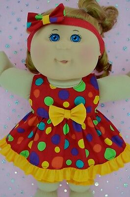 """Play n Wear Doll Clothes For 14"""" Cabbage Patch MULTI DOT DRESS~BLOOMERS~HEADBAND"""