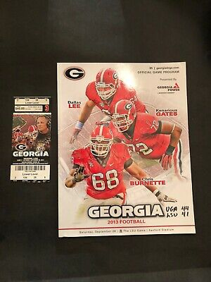 2013 Georgia Bulldogs Vs Lsu Tigers Football Program & Ticket Stub 9/28/13
