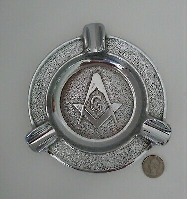 "Vintage 1950s MASONIC 5-1/2"" Ashtray Chrome Cast Iron-Very Nice Condition"