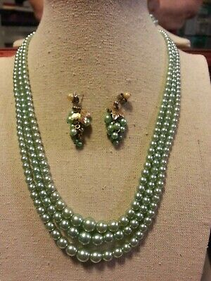 Vintage three strand icy green pearl necklace, 'bunch of grapes' earrings #P2