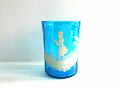 c. 1880s Mary Gregory Bohemian Glass Tumbler