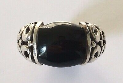 Vintage 925 Sterling Silver Onyx Ring Size 5
