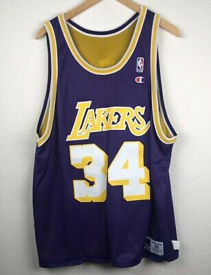 24a87b799cf VTG Shaquille O'Neal Shaq Los Angeles Lakers NBA Champion Reverse Jersey ...