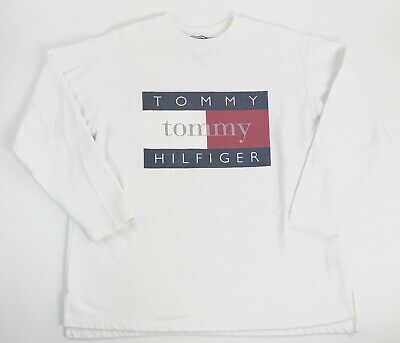 8a373843 Vintage 90S Tommy Hilfiger Big Flag Spell Out Sweatshirt Rare White L Euc