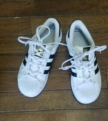 053403e12b2db Adidas Superstar Shoes Youth Size 1 White Black Sneakers Big Kids Leather  BA8378