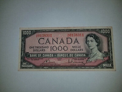 1954 BANK OF CANADA NOTES $ 1000.00 Dollars Circulated Condition