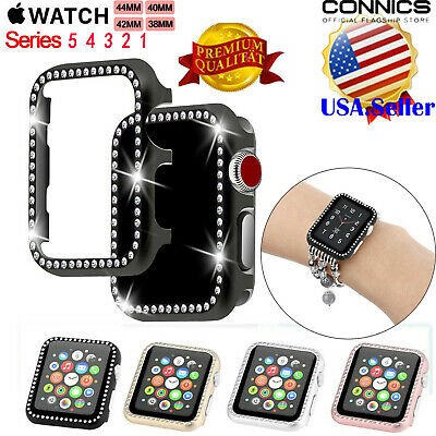 Fr Apple Watch Series 4 44/40 Diamond Bling Crystal iWatch 3 2 1 Protector Case