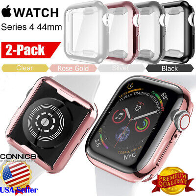 Soft TPU Case Plated Screen Protector Rugged Cover For Apple Watch Series 4 44mm