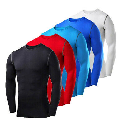 AU!! Mens Compression Top Long Sleeve Shirt T-Shirt Gym Wear Under Layer Tights