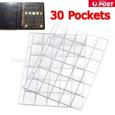 10X 30 Pockets Coin Holders Folder Pages Collection Album Storage Book Sleeve