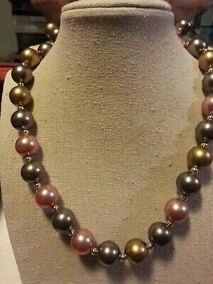Vintage three colour faux pearl necklace, gumball style #P7