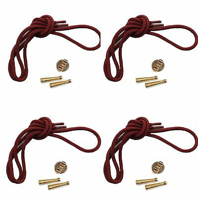 Blank Bolo Tie Kit Round Slide Textured Tips Maroon Cord DIY Gold Tone for 4