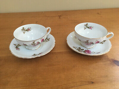Royal Rose Fine China of Japan Moss Rose Pattern 2 cups/saucers