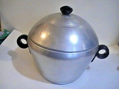 Vintage 40s 50s Retro Early Mid Century Atomic Aluminum Ice Bucket Bomb Shape