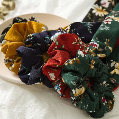 Floral Print Long Ribbon Band Knotted Scrunchie Elastic Bow Scarf Hair Rope Ties