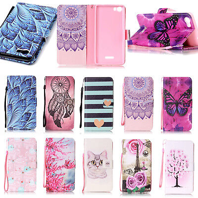Pattern Leather Book Flip Phone Case Cover Stand Pouch Skin For Wiko Fever 4G