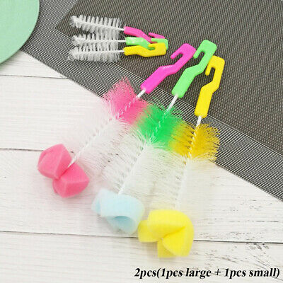2PCS New Head Spout Cup Washing Rotating Baby Nipple Bottle Brush Clean Sponge