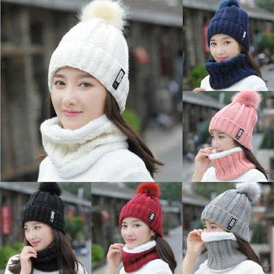 Womens Woolly Thick Knit Crochet Beanie Hats Scarf Pom Pom Snood Neck Warmer Cap