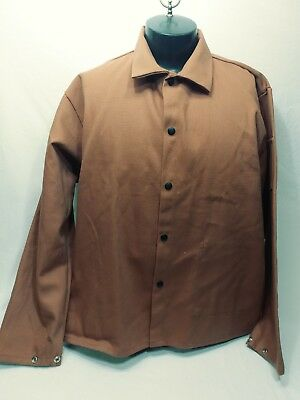 Black Stallion FR Welding Coat Size Extra Large Brown Long Sleeve Button Up coat